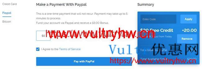 Vultr新用户20美元