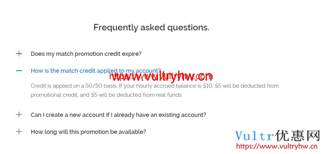 Vultr充100送100扣费方式