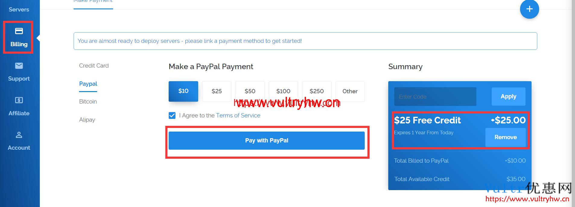 Vultr送25美元优惠码