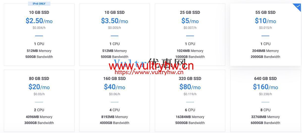 Vultr 3.5美元/月的套餐